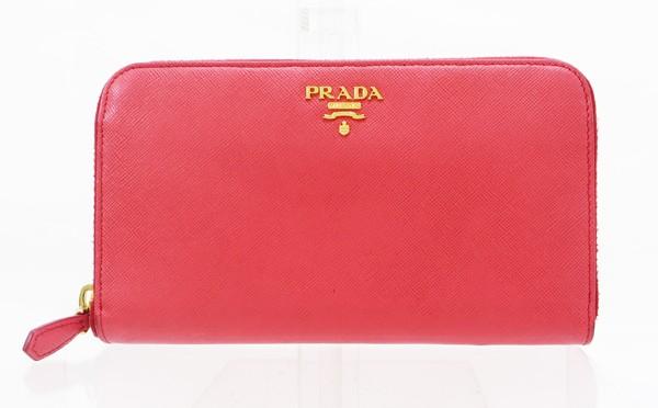 ◇【中古】 【PRADA プラダ】 サフィアーノ ラウンドファスナー財布 1M0506 財布 FRAGOLA
