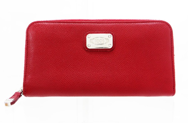 ◇【中古】 【TOD'S トッズ】 ラウンドファスナー財布 財布 レッド