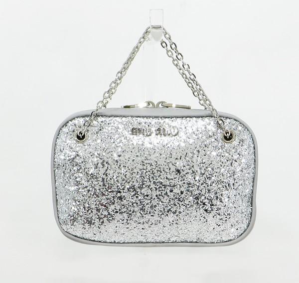 ◇【中古】 【MIU MIU ミュウミュウ】 グリッター チェーンハンドバッグ 5ND001 ハンドバッグ グレー