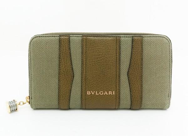◇【中古】 【BVLGARI ブルガリ】 B-zero1 ジッピーウォレット 33775 財布 カーキ系