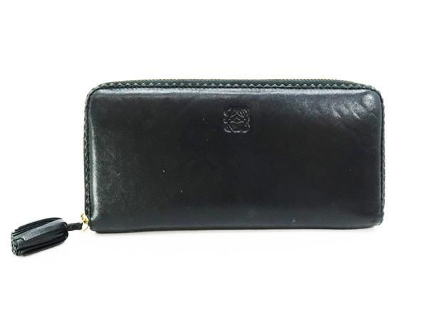 ◇【中古】 【LOEWE ロエベ】 レザー ラウンドファスナー長財布 財布 ブラック