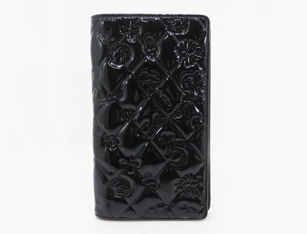 【中古】 【CHANEL シャネル】 シンボルチャーム パテント長財布 財布 ブラック