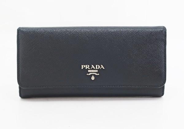 【中古】 【PRADA プラダ】 パスケース付き サフィアーノレザー 2つ折り長財布 1MH132 財布 ブラック