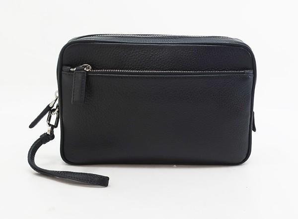 【中古】 美品 【PRADA プラダ】 レザーセカンドバッグ 2VF007 セカンドバッグ ブラック