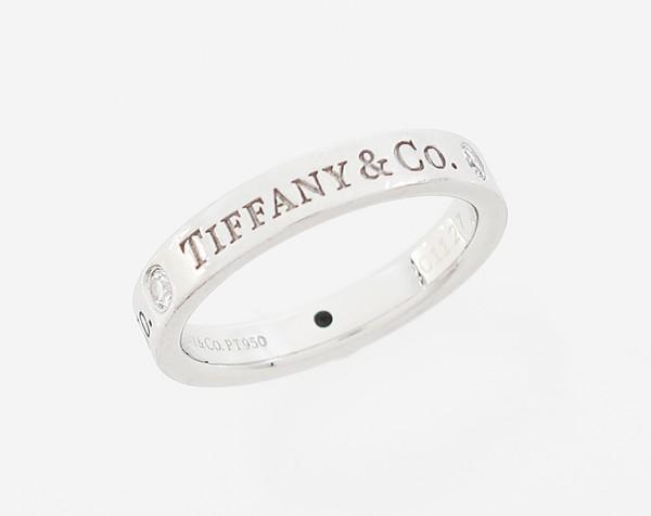 【中古】 【TIFFANY&Co. ティファニー】 Pt プラチナ 3Pダイヤ ロゴ リング リング