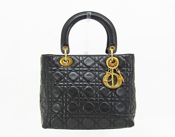 【中古】 【Christian Dior クリスチャン・ディオール】 レディディオール ハンドバッグ ハンドバッグ ブラック×ゴールド金具