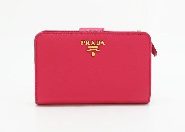 【中古】 【PRADA プラダ】 サファイアーノレザー マルチ 2つ折り財布 1ML225 財布