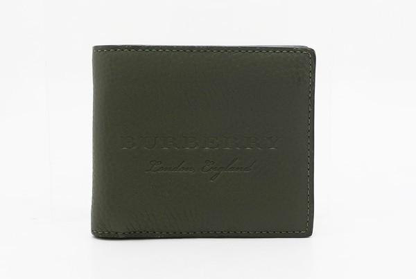 【中古】 美品 【BURBERRY バーバリー】 ソフトレザー ロゴエンボス 2つ折り財布 財布 カーキ