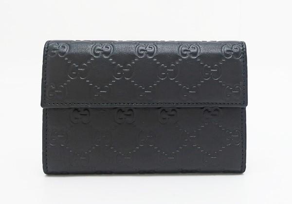【中古】 【GUCCI グッチ】 グッチシマ 3つ折り財布 346057 財布 ブラック