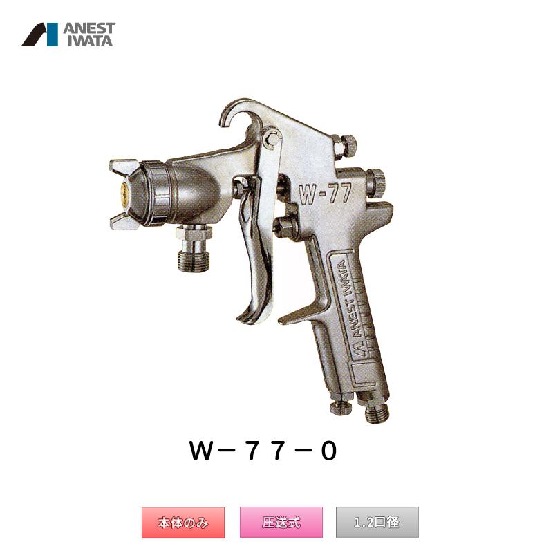 アネスト岩田 中形スプレーガン 圧送式 W-77-0 本体のみ 「取寄」