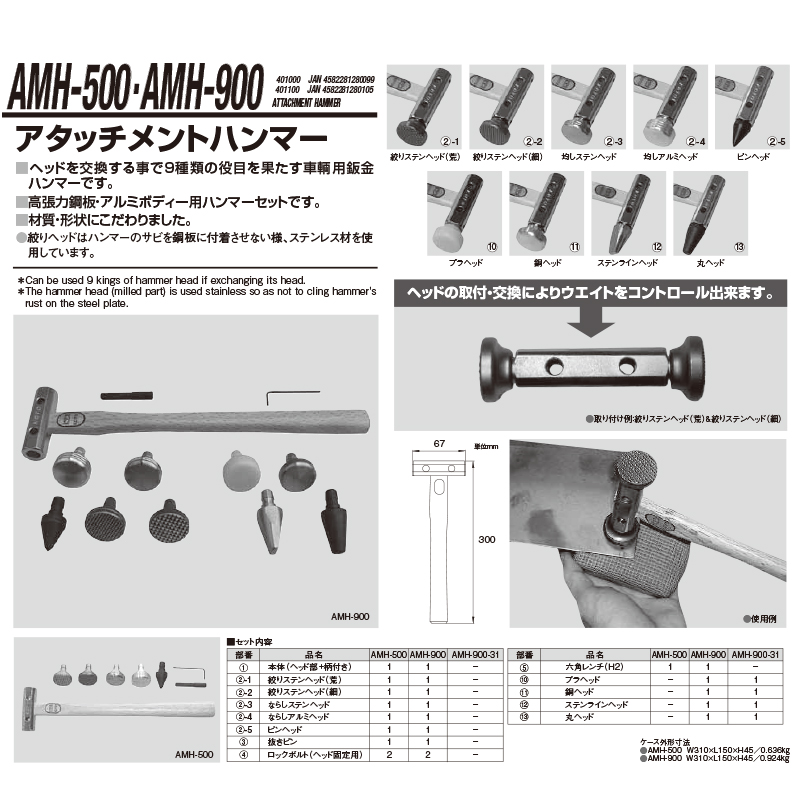 江東産業 AMH-500 アタッチメントハンマー [取寄]
