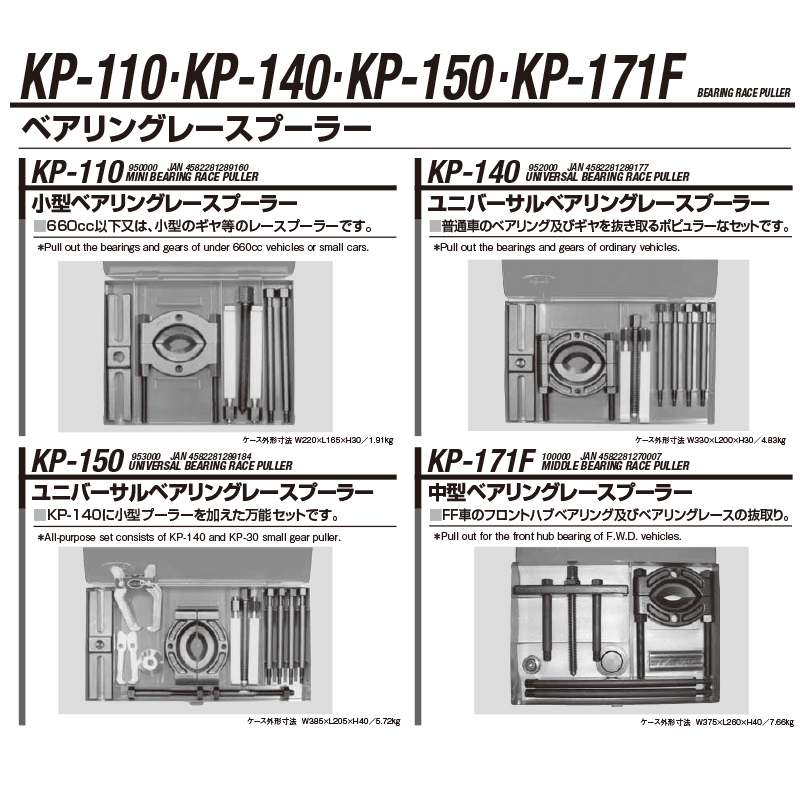 江東産業 KP-150 ユニバーサルベアリングレースプーラー [取寄]