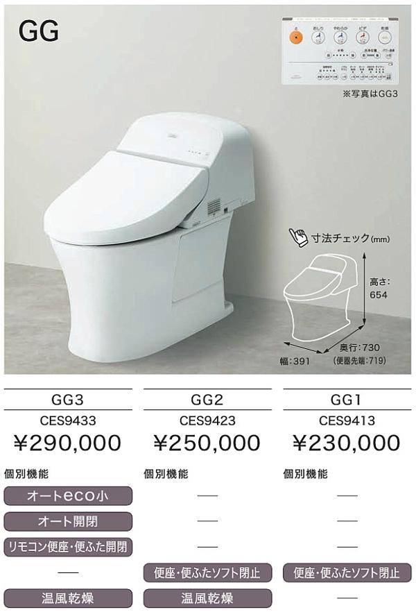 【関西・地域限定】TOTO トイレ・タンクレス GGシリーズ GG2 CES9423