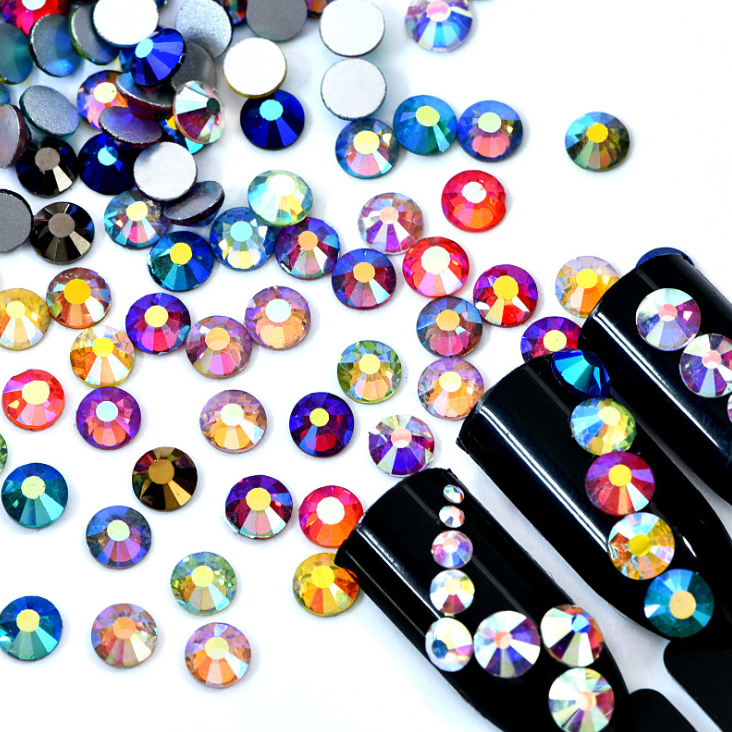 スワロフスキー同等の美しさ☆ ネイル ハンドメイド製作にいつも以上の輝きを♪ 【超高級】ガラス製ラインストーン オーロラミックス SS3~SS30サイズ選択可 スワロフスキーと変わらない驚きの輝き☆