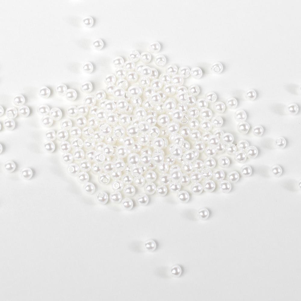 高品質 お手頃価格なのに良質なアクリル製 片穴パール 贈与 3mm~20mm 高価値 サイズ選択可 ホワイト