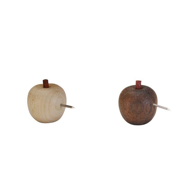 可愛いリンゴのプッシュピン 画鋲 掲示用品 NT:108780 新色 BR:108781 上質 レターパック可 La Luz 5個セット ラ 木製 ギフト ルース 雑貨 林檎 リンゴプッシュピン