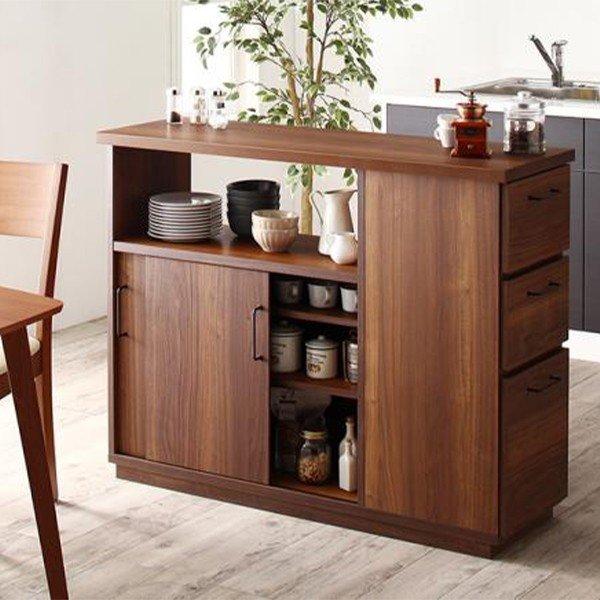 キッチンカウンター 間仕切り 幅120 完成品 収納 おしゃれ 日本製 Cafeterie カフェテリエ キッチン収納