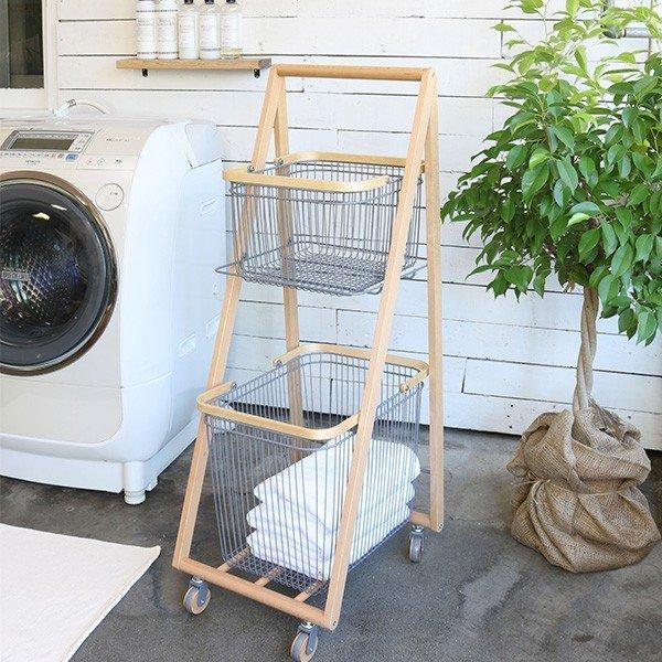 ワゴン スチール 木製 おしゃれ 北欧 キャスター付き 洗濯物ラック バスケット ワゴン 洗面所