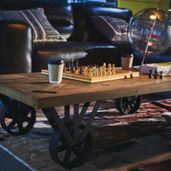 ローテーブル おしゃれ 木製 車輪付き センターテーブル 完成品 トロリーテーブル 天然木 リビングテーブル ヴィンテージ