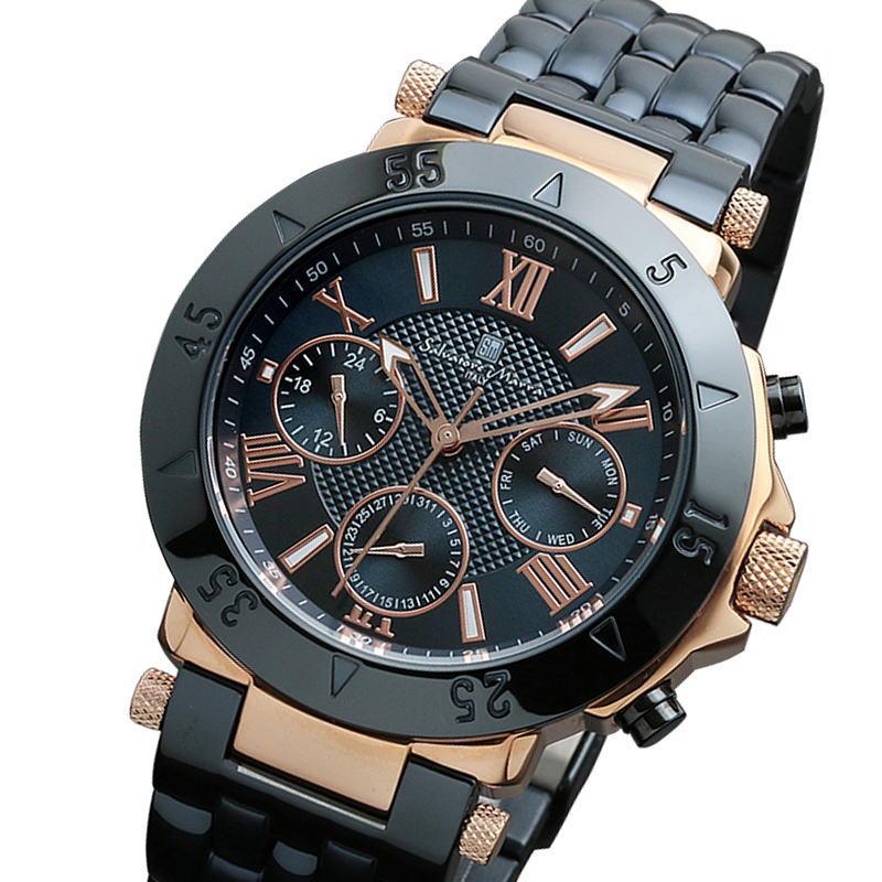 サルバトーレマーラ Salvatore Marra ITALY メンズウォッチ 腕時計 マルチカレンダー 10気圧防水  SM14118-PGNV ネイビー