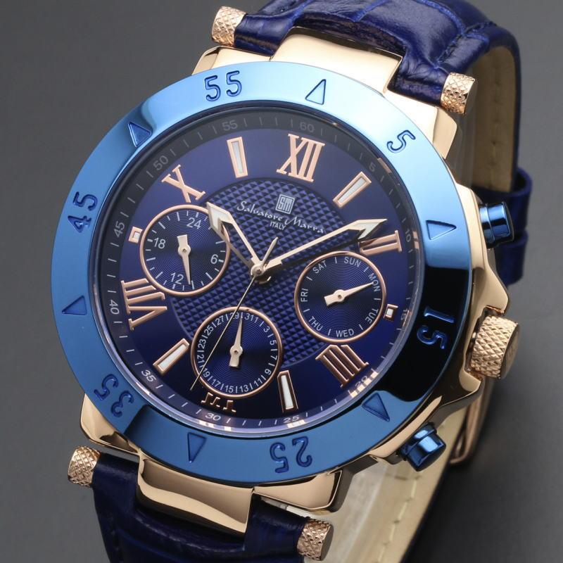 サルバトーレマーラ Salvatore Marra ITALY メンズウォッチ 腕時計 ブルーレザーベルト クォーツ  SM14118S-PGBL 【あす楽対応】