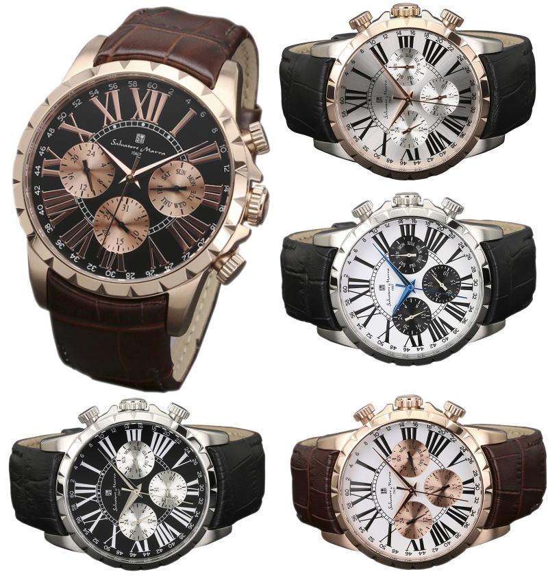 サルバトーレマーラ 腕時計 Salvatore Marra Italy  多軸 丸型(本革ベルト)レザーウォッチ SM15103