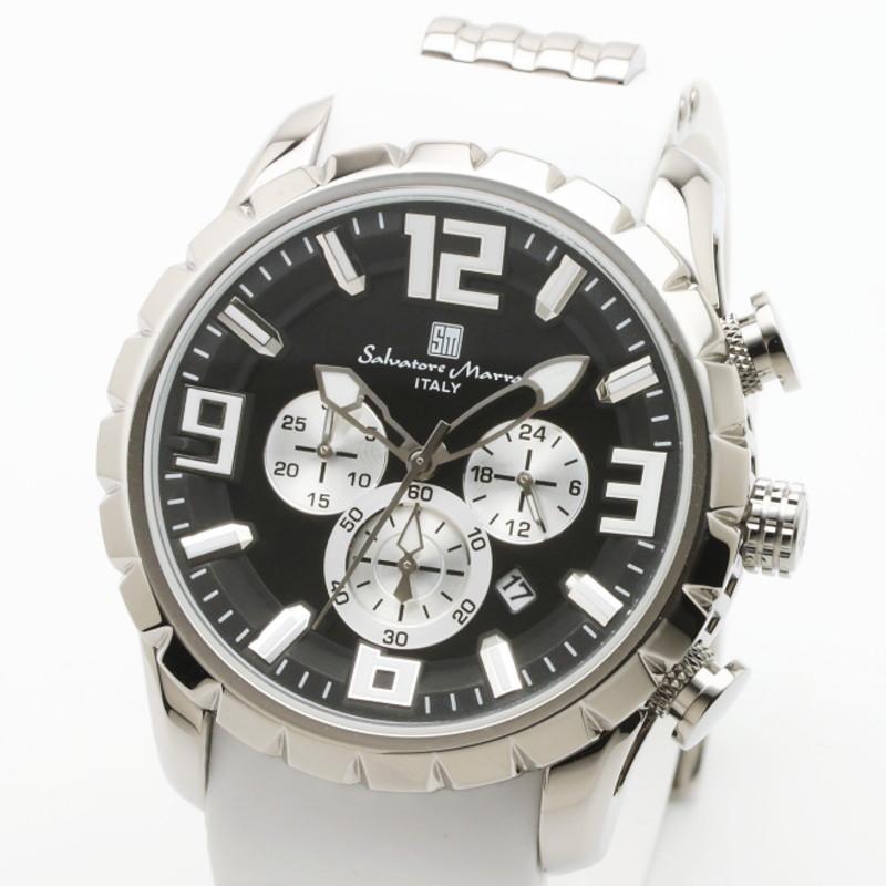 サルバトーレマーラ クロノグラフ腕時計 Salvatore Marra ITALY 立体インデックス ウレタンベルトウォッチ 10気圧防水  SM15107-SSBK/WH