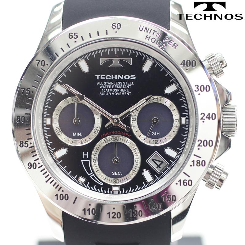TECHNOS(テクノス) ソーラークロノグラフ腕時計 デイト(日付表示)ウレタンベルトウォッチ T4A47SB 【あす楽対応】