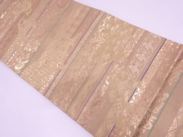 リサイクル 横段に花鳥・古典柄模様織出し袋帯【送料無料】