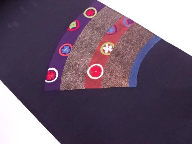 リサイクル 地紙に花模様織出し袋帯【送料無料】