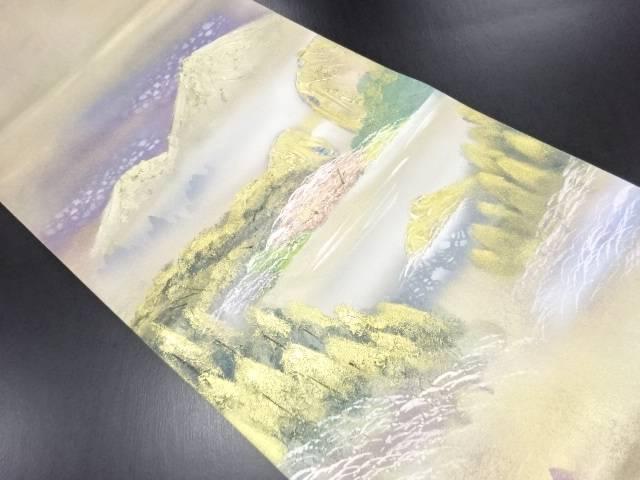 リサイクル 作家物 箔置螺鈿森林風景模様袋帯【送料無料】