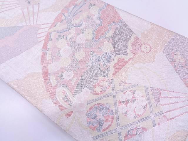 リサイクル 未使用品 檜扇に花鳥模様織出し袋帯【送料無料】