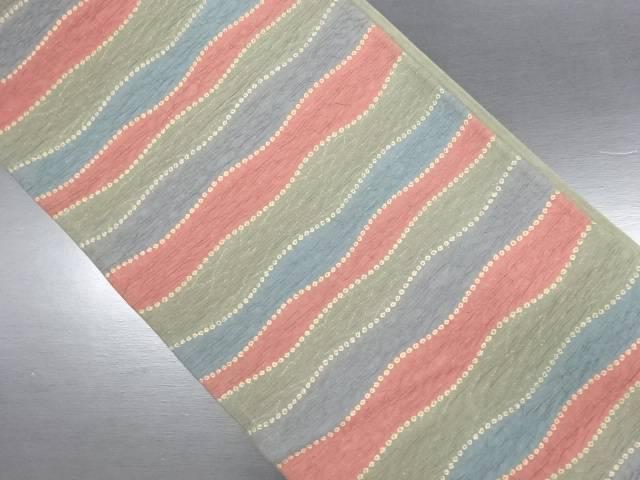 リサイクル 変わり織 よろけ横段に疋田模様織り出し洒落袋帯【送料無料】