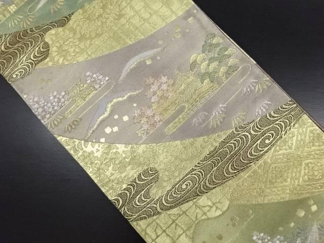 リサイクル 本金 金閣寺に紅葉模様織り出し袋帯【送料無料】