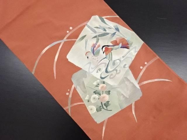 リサイクル 明綴れ 色紙に鴛鴦模様織り出し袋帯【送料無料】