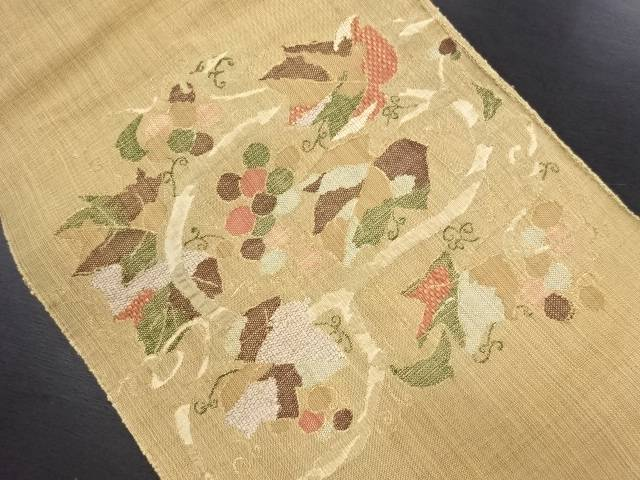 リサイクル 葡萄唐草模様織り出し名古屋帯【送料無料】