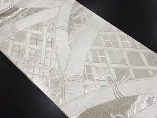 リサイクル 銀糸蛇籠模様織り出し袋帯【送料無料】