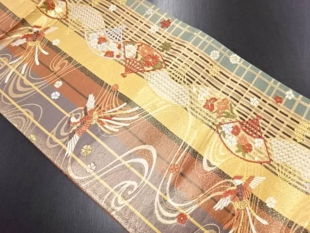 リサイクル 本金唐織鳳凰に扇・梅・菊模様織り出し袋帯【送料無料】