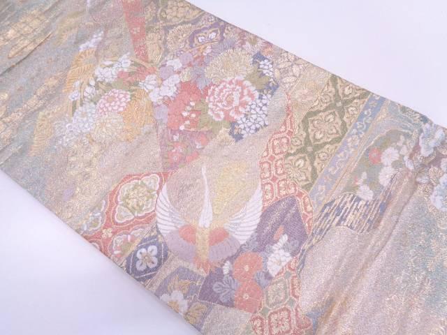 【セール30%オフ】リサイクル 花丸紋に鶴模様織出し袋帯【送料無料】
