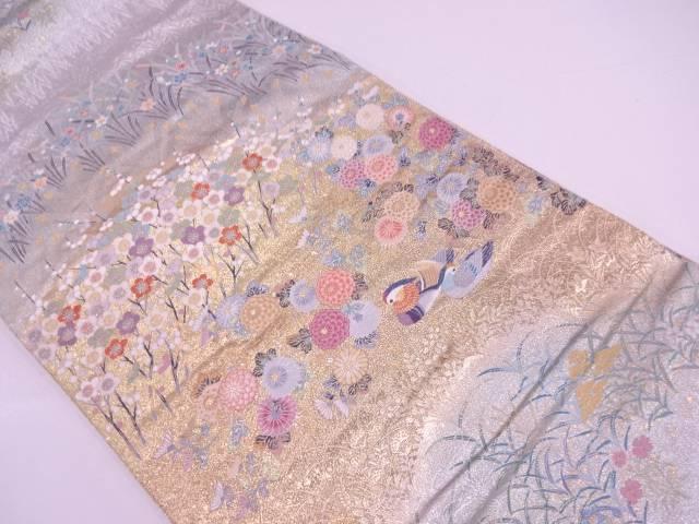 リサイクル 鴛鴦に草花模様織出し袋帯【送料無料】