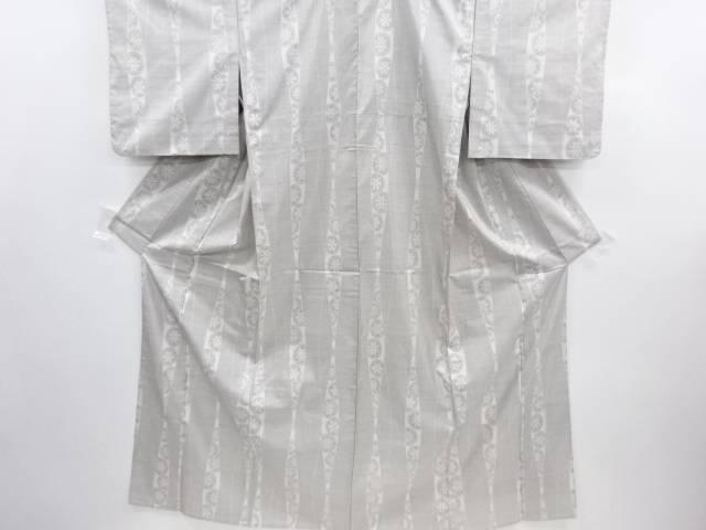 リサイクル 立涌に源氏車模様織り出し本場白大島紬単衣着物(9マルキ)【送料無料】