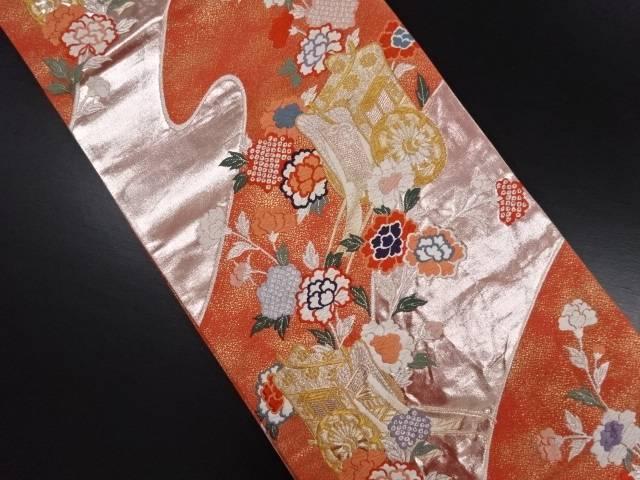 リサイクル 御所車に牡丹模様織り出し袋帯【送料無料】