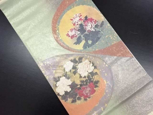 リサイクル 引箔螺鈿 牡丹模様袋帯【送料無料】
