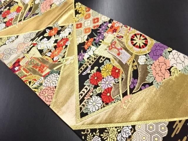 リサイクル 純金箔御所車に菊・菖蒲・牡丹模様織り出し袋帯【送料無料】