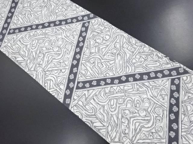 リサイクル 切りばめ風更紗模様織り出し全通袋帯【送料無料】
