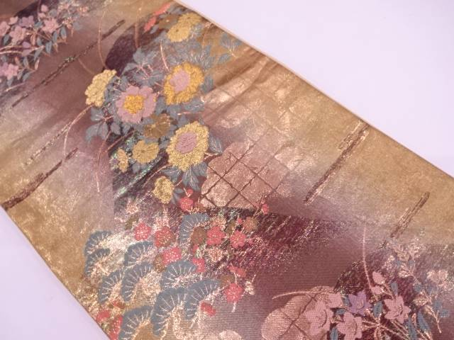 【セール30%オフ】リサイクル 遠山に松・草花模様織出し袋帯【送料無料】