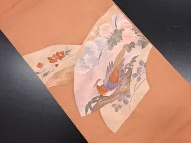 リサイクル 地紙に鳥・秋草模様織り出し袋帯【送料無料】