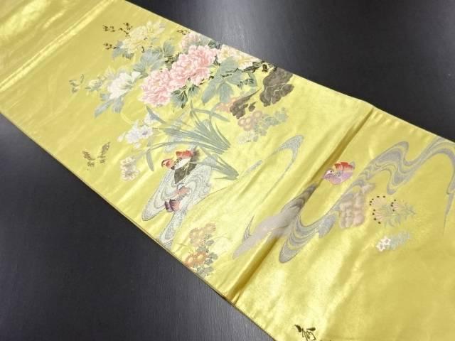リサイクル 秀水謹写 本金牡丹に蝶・鴛鴦模様織り出し袋帯【送料無料】