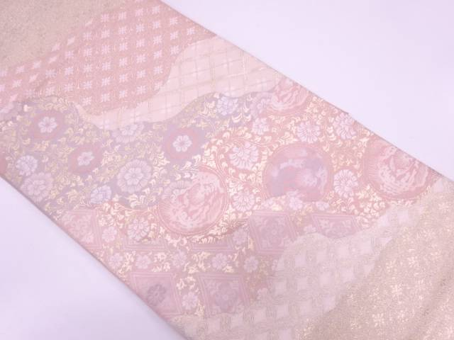 リサイクル 道長取りに抽象動物・花唐草模様織出し袋帯【送料無料】