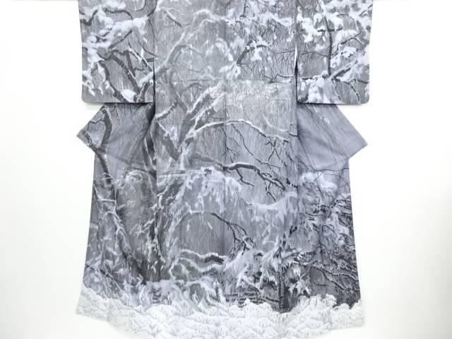 リサイクル 山岡古都作 墨染め 銀通し 樹木に雪解け模様訪問着【送料無料】